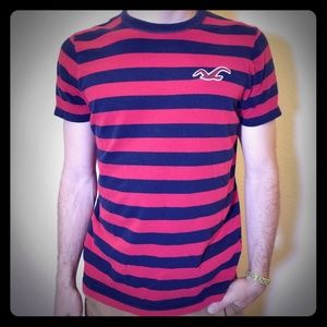 Hollister red & navy striped shirt with navy trim